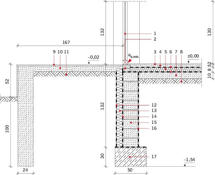 RYS. 9. Połączenie drzwi balkonowych z tarasem – wariant VI: drzwi balkonowe podmurowane cegłą ceramiczną;  Okno balkonowe drewniane: 1 – szyba o U =1,1 W/(m2·K), 2 – podmurówka z cegły ceramicznej pełnej. Posadzka na gruncie: 3 – gres na kleju gr. 2 cm.