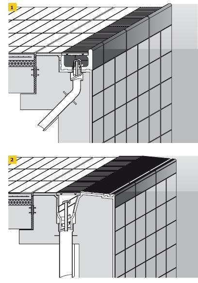 Rys. 1–2. Tolerancja wymiarowa (odchyłka od poziomu oraz od linii poziomej) kształtki przelewu typu Wiesbaden (1) i krawędzi przelewu typu Finland (2) nie może być większa niż 2 mm (niezależnie od kształtu i wymiarów basenu)