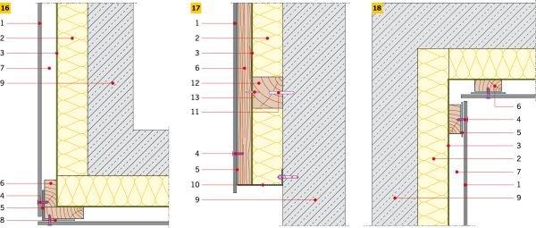 RYS. 16–18. Detale wykonania elewacji wentylowanej na ruszcie drewnianym: naroże zewnętrzne (16), połączenie elewacji z cokołem (17), naroże wewnętrzne (18)