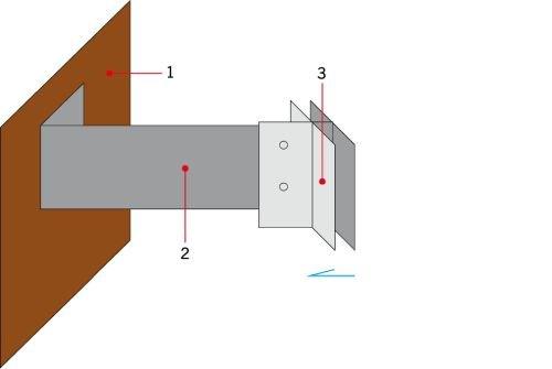 RYS. 3. Przesunięcie elementu rusztu w celu kompensacji krzywizn występujących na ścianach;
