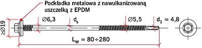 RYS. 5. Przykład typowego wkręta samowiercącego przeznaczonego do wykonywania połączeń płyt warstwowych ze stalową konstrukcją nośną