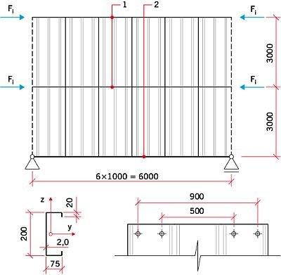 """RYS. 15. Szkic analizowanego układu konstrukcyjnego; 1 – belka stabilizowana, 2 – podpora """"sztywna"""""""
