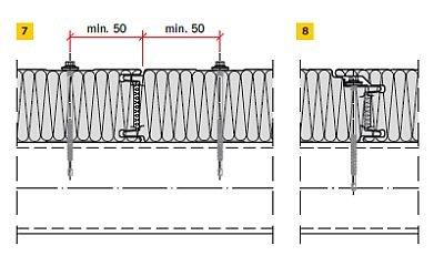 RYS. 7–8. Przykłady połączeń płyt warstwowych ściennych z konstrukcją nośną: połączenie z łącznikiem widocznym (7), połączenie z łącznikiem ukrytym (8)