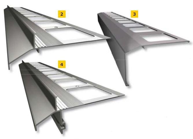 RYS. 2–4. Systemowe profile okapowe do balkonów/tarasów z uszczelnieniem zespolonym