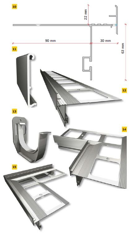 RYS. 10–15. Systemowy profil okapowy i kształtki przeznaczone do tarasów/balkonów z drenażowym odprowadzeniem wody przy warstwie użytkowej z płytek klejonych do specjalnej maty