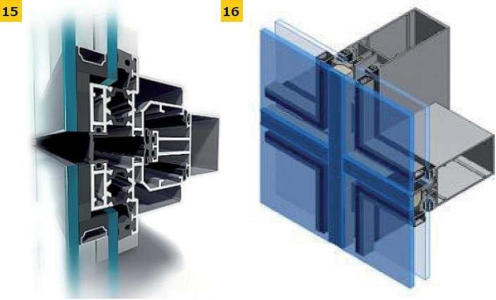 FOT. 15–16. Przykłady rozwiązań konstrukcyjnych ścian z oszkleniem strukturalnym