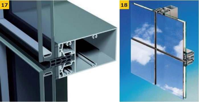 FOT. 17-18. Przykłady rozwiązań konstrukcyjnych ścian z oszkleniem strukturalnym