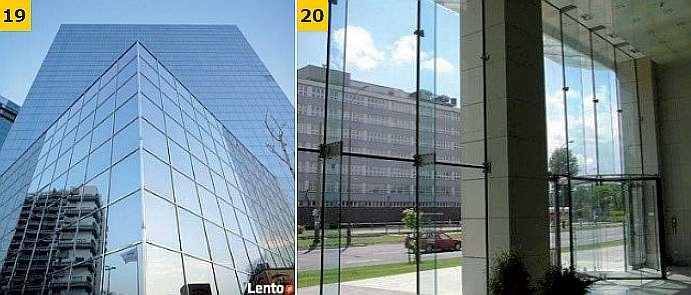 FOT. 19-20. Przykłady rozwiązań konstrukcyjnych ścian z oszkleniem strukturalnym