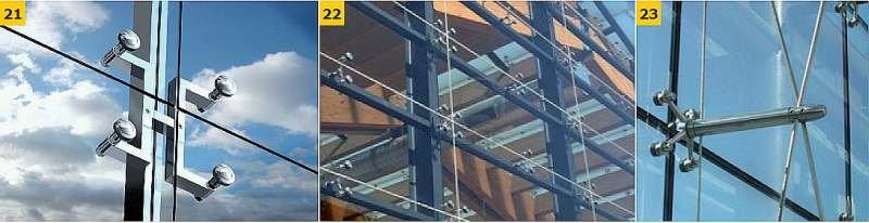 FOT. 21–23. Przykłady rozwiązań konstrukcyjnych ścian z oszkleniem punktowym.