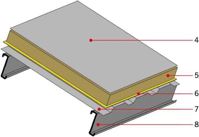 RYS. 12. Przykładowa przegroda warstwowa niewentylowana: 4 – membrana dachowa PCV, 5 – wełna mineralna, 6 – folia PE gr. 0,2 mm, 7 – blacha trapezowa, 8 – płatew dachowa