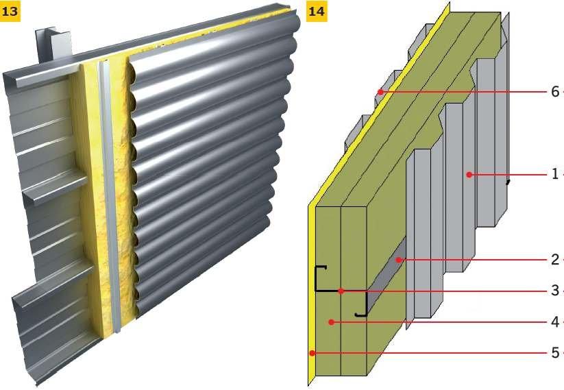 RYS. 13–14. Ściana wentylowana: z kaset ściennych ocieplana wełną mineralną i zewnętrzną warstwą osłonową z płyty falistej (13), z wełny mineralnej umieszczonej między ryglami i zewnętrznymi warstwami z blachy trapezowej (14):on 1 – blacha trapezowa, 2 .