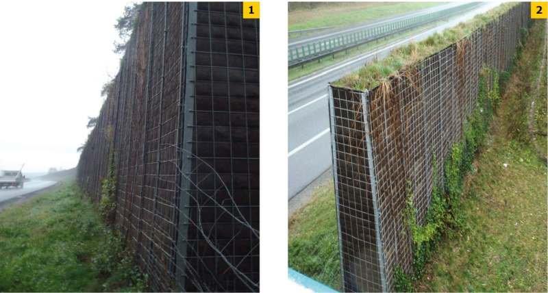 FOT. 1–2. Bariera dźwiękochłonna na stelażu stalowym z wypełnieniem ziemnym na małopolskim odcinku autostrady A4