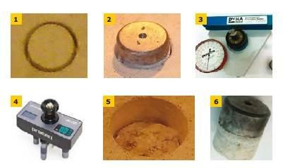 FOT. 1–6. Ilustracja seminieniszczącej metody badania zespolenia warstw betonowych: widok nacięcia o średnicy równej 50 mm na pełną grubość warstwy wierzchniej (1), widok przyklejonego specjalnego metalowego krążka do powierzchni betonu (2), widok siłow.