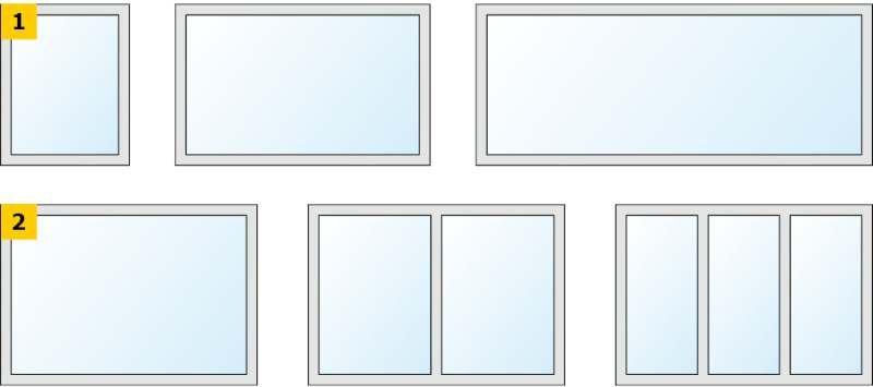 RYS. 1–2. Schematy badanych wariantów stolarki okiennej: o zmiennej powierzchni (1) oraz o zmiennej liczbie skrzydeł (2); rys. archiwa autorów (W. Jezierski, J. Borowska)