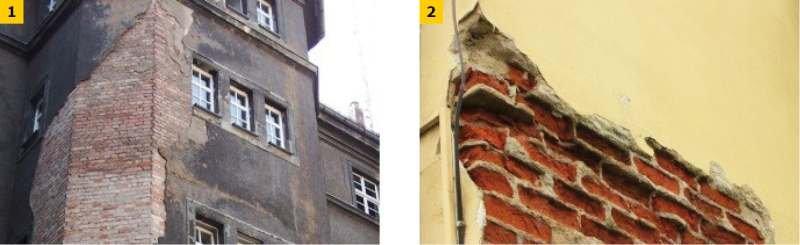 FOT. 1–2. Skutki uszkodzeń wypraw zewnętrznych: zawilgocenie (1), korozja cegieł (2)