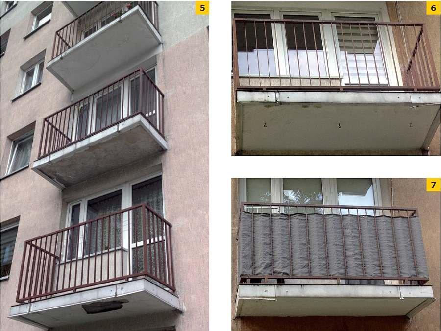 FOT. 5. Zacieki i uszkodzenia tynku na kolejnych płytach balkonowych; fot.: A. Gwiżdż; FOT. 6-7. Uszkodzenia obróbek balkonowych; fot.: A. Gwiżdż
