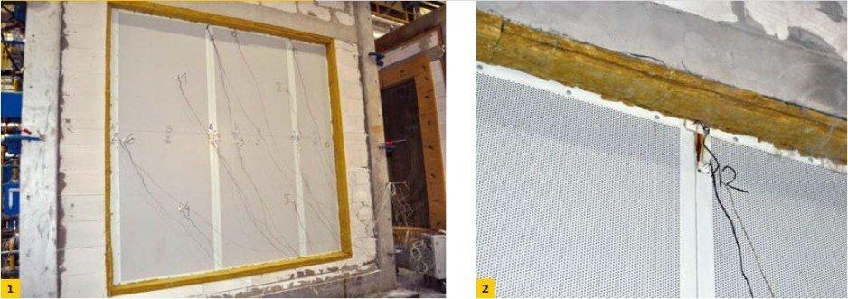 FOT. 1–2. Badanie odporności ogniowej – ściana działowa nienośna, blacha perforowana od strony nienagrzewanej