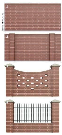 Fot. 1–4. Przykłady ogrodzeń z klinkieru: mur ciągły (1), mur ze wzmocnieniem (pilastry) (2), mur ze słupkami i wypełnieniem z cegły (3), mur ze słupkami i przęsłami z metalu lub drewna (4)