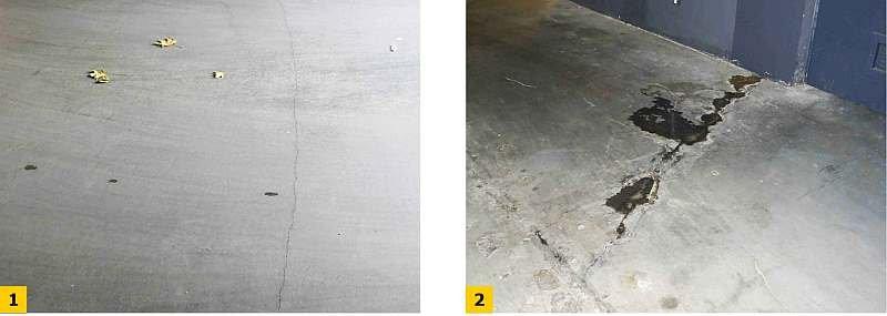 Fot. 1–2. Widok przykładowych rys skurczowych w płycie fundamentowej