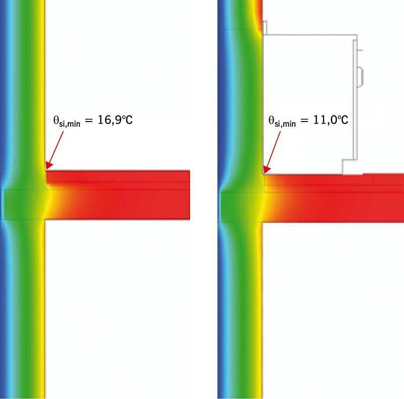 Rys. 1. Temperatura w narożu ściennym zabudowanym i niezabudowanym; rys.: archiwa autorów