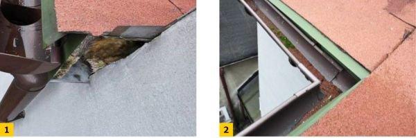 FOT. 1-2. Błędy w obróbkach blacharskich przy dachu; fot.: archiwum autora