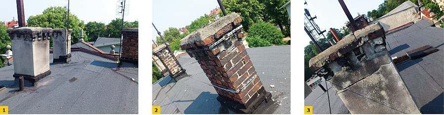 FOT. 1-3 Przykłady uszkodzeń trzonów kominowych wyprowadzonych ponad połać dachową; fot. archiwum autora