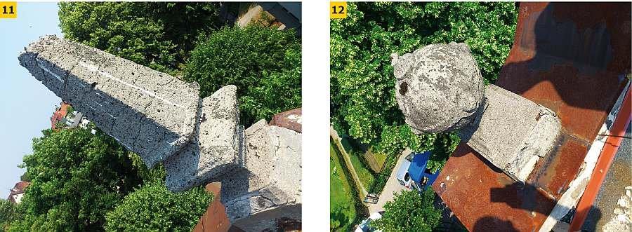 FOT. 11-12 Elementy ozdobne dachu: brak usunięcia uszkodzeń mechanicznych, strefa przypowierzchniowa betonu jest skarbonatyzowana; fot. [6]