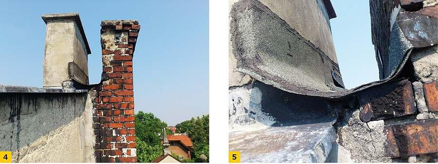 FOT. 4-5 Wykonane zabezpieczenie fragmentu muru na granicy parceli pomiędzy trzonami kominowymi: widok (4), szczegół w zbliżeniu (5); fot. archiwum autora