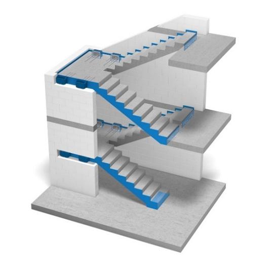 Rys.1 - Oddylatowanie biegów wraz ze spocznikami od ścian klatki schodowej