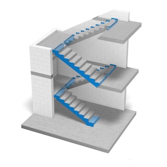 Oddylatowanie biegów schodowych od spoczników i od ścian klatki schodowej