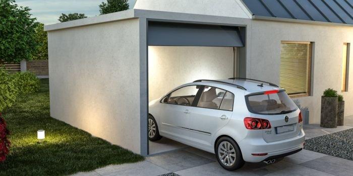 Garaż betonowy (wykonany z elementów betonowych), fot. BEWA Prefabrykowane Systemy Betonowe