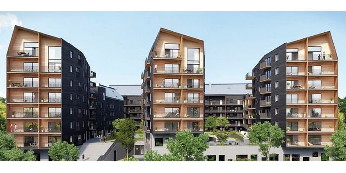 Przykład wielorodzinnego budownictwa drewnianego: Växjö, Szwecja – pierwsze nowoczesne europejskie miasto z drewna, fot. Johan Thorsell
